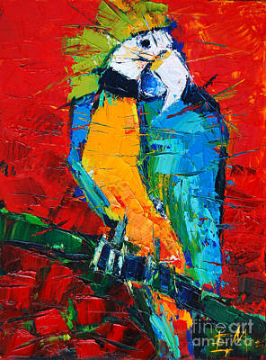 Yellow Beak Painting - Coco The Talkative Parrot by Mona Edulesco