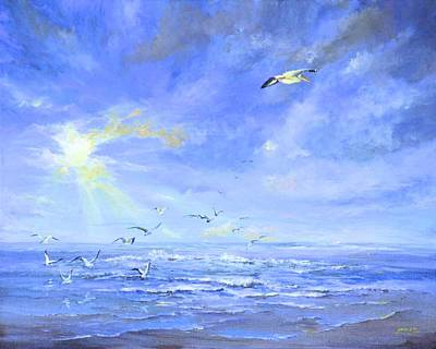 Painting - Cocoa Beach Birds by AnnaJo Vahle