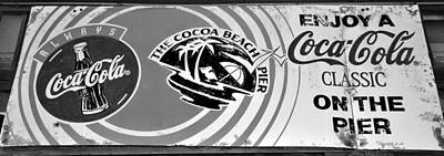 Coca-cola Sign Photograph - Cocoa Beach Pier Sign by David Lee Thompson