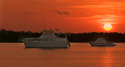 Photograph - Cabin Cruiser And Red Sunset Over Harbour by Ginger Wakem