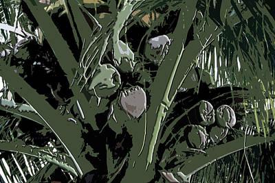 Art Print featuring the digital art Coconut Palms by Karen Nicholson