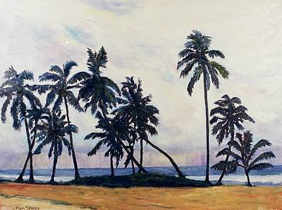 Coconut Trees Waiting For The Storm Original by Ken Shuey