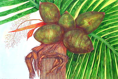 Painting - Coconuts At Kahlua Beach Club by Ashley Goforth