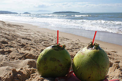 Coconuts Juice On The Beach Art Print