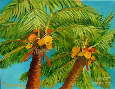 Art Print featuring the painting Coco's In The Keys - Key West Palm Tree With Coconuts by Shelia Kempf
