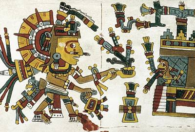 Precolumbian Photograph - Codex Cospi. Circa 15th C. God by Everett