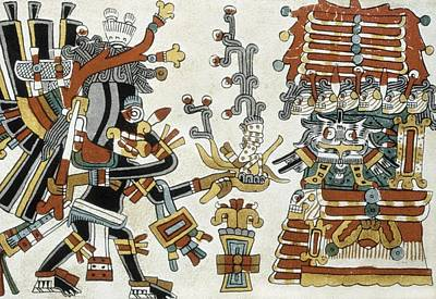 Precolumbian Photograph - Codex Cospi. Circa 15th C. The God by Everett