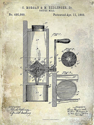 Coffee Mill Patent 1893 Art Print
