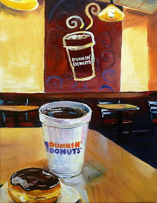 Donuts Drawing - Coffee And A Donut by Kevin Brown
