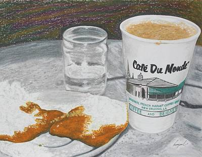 Riverwalk Drawing - Coffee And Beignet by Hung Quach