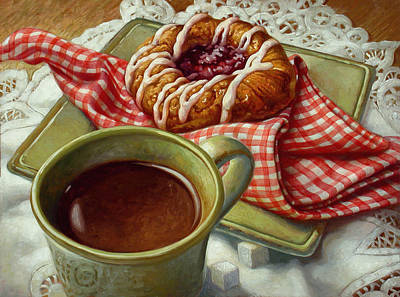 Donut Painting - Coffee And Danish by Mia Tavonatti