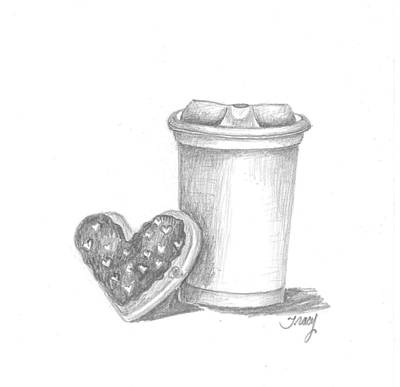 Donuts Drawing - Coffee And Donut To Go by Tracy Meola