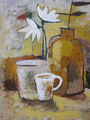 Terracotta Painting - Coffee And Flowers by Lutz Baar