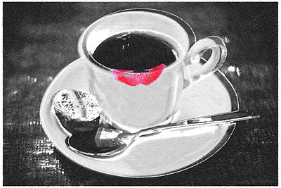 Interior Still Life Painting - Coffee And Lipstick by Tony Rubino