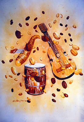 Coffee And Music Art Print by Estela Robles