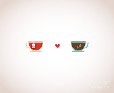 Couple Wall Art - Digital Art - Coffee And Tea In Love Cups by Jennylipets