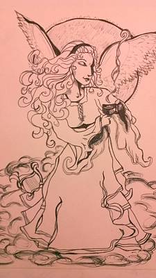 Drawing - Coffee Angel by Holly Berry