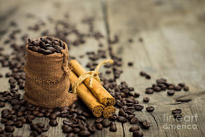 Miniature Photograph - Coffee Beans And Cinnamon Stick by Aged Pixel