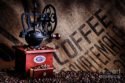 Photograph - Coffee Beans And Grinder With Bag Closeup by Danny Hooks