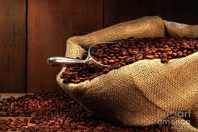 Coffee Beans In Burlap Sack Art Print by Sandra Cunningham