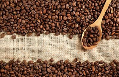 Photograph - Coffee Beans On Burlap by Barcin