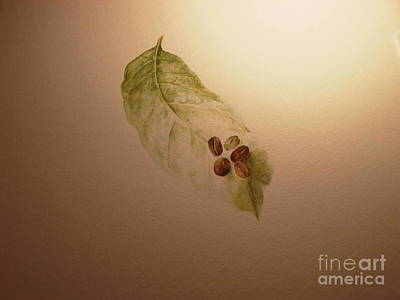 Painting - Coffee Beans On Coffea Arabica Leaf by Laura Hamill