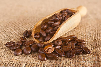 Photograph - Coffee Beans Spilling From A Scoop by Colin and Linda McKie