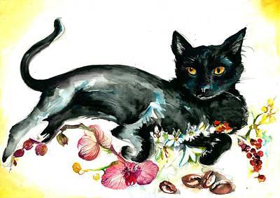 Coffee Black Cat Vintage Style Large Format Xxl Art Print by Tiberiu Soos