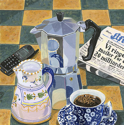 Coffee Break Art Print by Jane Dunn Borresen