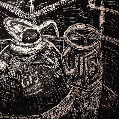 Coffee Carafe And Mason Jar Mug Art Print