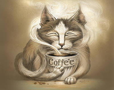 Cat Art Digital Art - Coffee Cat by Jeff Haynie