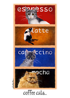 Coffee Painting - Coffee Cats... by Will Bullas