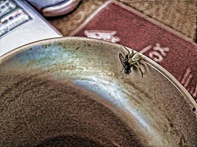 Coffee Cup Spider Fly Oh My Art Print by Robert Rhoads