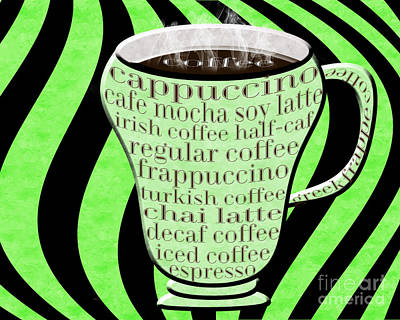 Coffee Cup With Stripes Typography Green Art Print by Andee Design