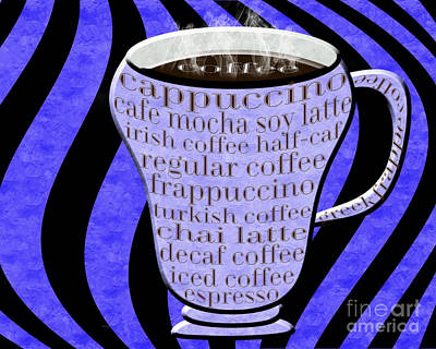 Digital Art - Coffee Cup With Stripes Typography Periwinkle by Andee Design