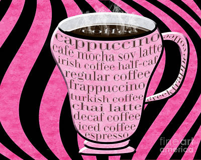 Coffee Cup With Stripes Typography Pink  Art Print by Andee Design
