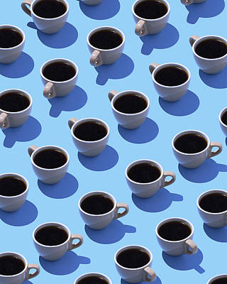 Blue Background Digital Art - Coffee Cups On Light Blue Ground, 3d by Westend61