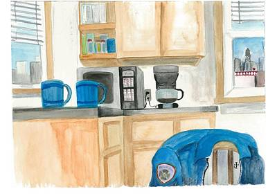 Painting - Coffee Cups On The Counter by Jeremiah Iannacci