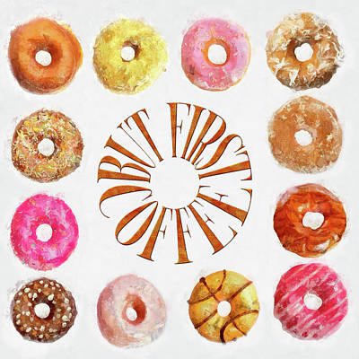 Donut Painting - Coffee Donuts by Cora Niele