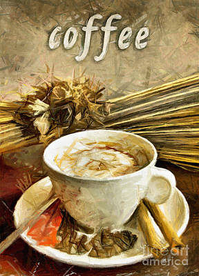 Pastel - Coffee - Drawing by Daliana Pacuraru