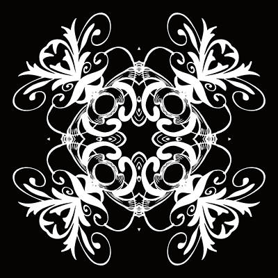 Digital Art - Coffee Flowers 1 Bw Ornate Medallion by Angelina Vick