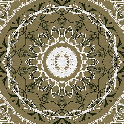 Steampunk Royalty-Free and Rights-Managed Images - Coffee Flowers 1 Olive Ornate Medallion by Angelina Vick