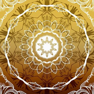 Coffee Flowers 1 Ornate Medallion Calypso Art Print by Angelina Vick