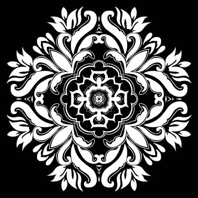 Digital Art - Coffee Flowers 10 Bw Ornate Medallion by Angelina Tamez