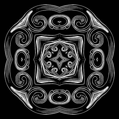 Digital Art - Coffee Flowers 2 Bw Ornate Medallion by Angelina Vick