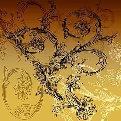 Ornate Mixed Media - Coffee Flowers 3 Calypso by Angelina Vick
