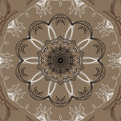 Digital Art - Coffee Flowers 3 Ornate Medallion by Angelina Tamez