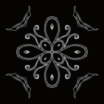 Digital Art - Coffee Flowers 4 Bw Ornate Medallion by Angelina Tamez