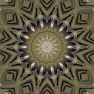 Rose Digital Art - Coffee Flowers 4 Olive Ornate Medallion by Angelina Vick