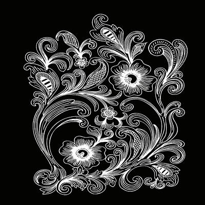 Digital Art - Coffee Flowers 6 Bw by Angelina Tamez